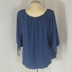 Pat Rego Tops - Pat Rego Crinkle Top...Blue...Size 1x